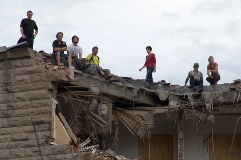 Dachbesetzung bei Abrissbeginn