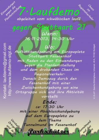 7. Laufdemo in Stuttgart Fasanenhof