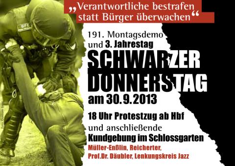 Flyer_191.MoDemo_3.JahrestagSchwarzerDonnerstag_2013-09-30_Vorderseite
