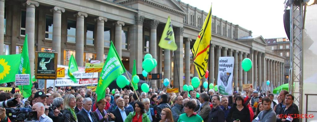 S21-Gegner bei BTW13 Wahlwerbung der Grünen ©weiberg