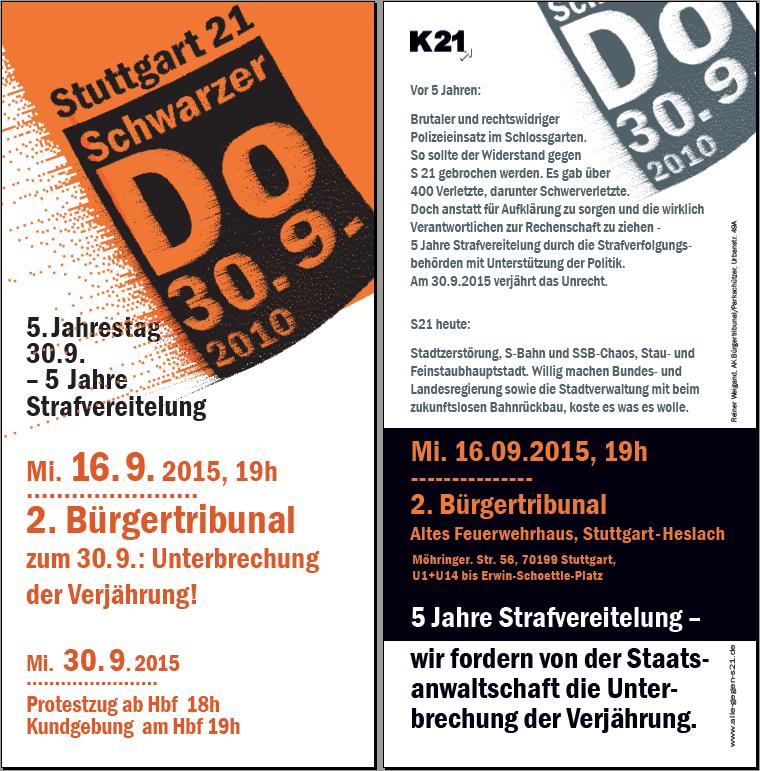 """2. Bürgertribunal """"5 Jahre Schwarzer Donnerstag - 5 Jahre Strafvereitelung"""""""
