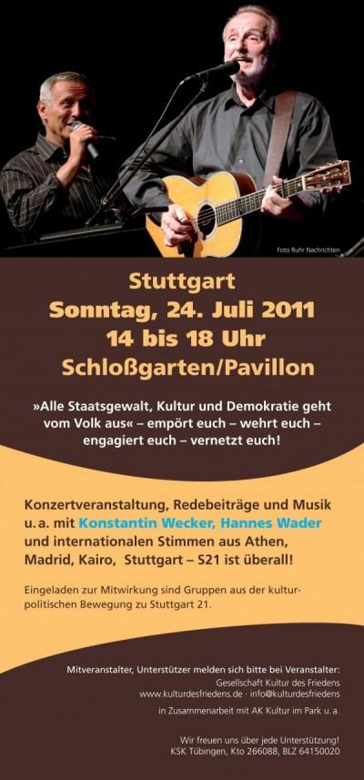 Konzert mit Konstantin Wecker, Hannes Wader u.a. am 24.7. von 14 bis 18 Uhr im Stuttgarter Schlossgarten