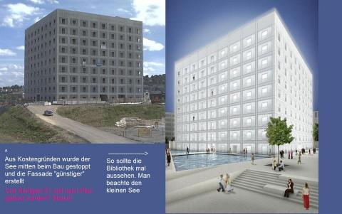 Bibliothek: links: Wirklichkeit (Realität); rechts: Planung (Fiktion)